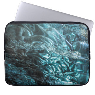 Blue ice of an ice cave, Iceland Laptop Sleeve