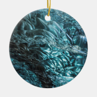 Blue ice of an ice cave, Iceland Round Ceramic Ornament