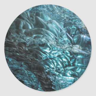 Blue ice of an ice cave, Iceland Round Sticker
