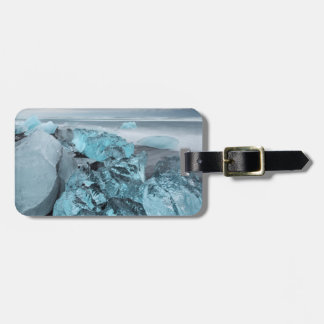 Blue ice on beach seascape, Iceland Bag Tag