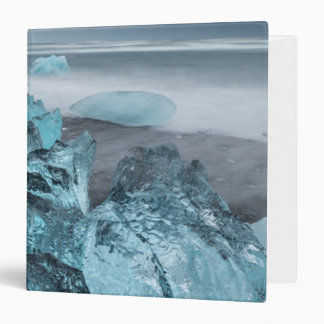 Blue ice on beach seascape, Iceland Binders