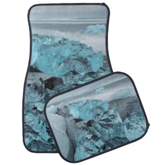 Blue ice on beach seascape, Iceland Car Mat