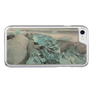 Blue ice on beach seascape, Iceland Carved iPhone 7 Case