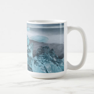 Blue ice on beach seascape, Iceland Coffee Mug