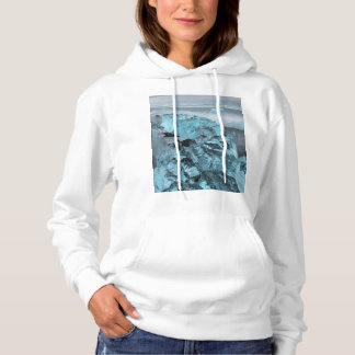 Blue ice on beach seascape, Iceland Hoodie