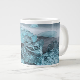 Blue ice on beach seascape, Iceland Large Coffee Mug