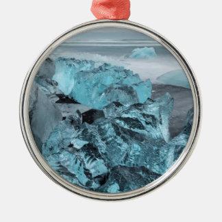 Blue ice on beach seascape, Iceland Metal Ornament