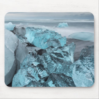 Blue ice on beach seascape, Iceland Mouse Pad