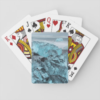 Blue ice on beach seascape, Iceland Playing Cards