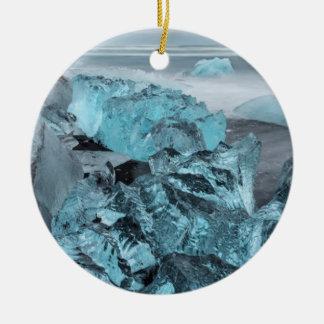 Blue ice on beach seascape, Iceland Round Ceramic Ornament