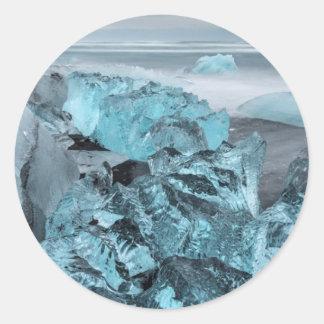 Blue ice on beach seascape, Iceland Round Sticker