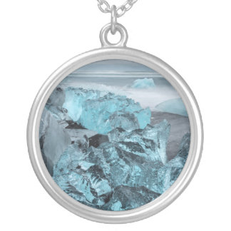 Blue ice on beach seascape, Iceland Silver Plated Necklace