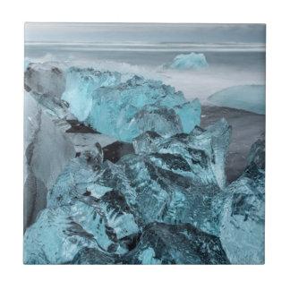 Blue ice on beach seascape, Iceland Tile