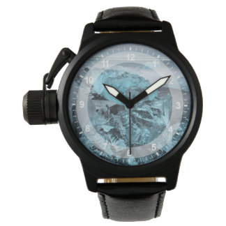 Blue ice on beach seascape, Iceland Wrist Watch
