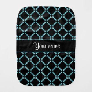 Blue Ice Quatrefoil on Black Background Baby Burp Cloth