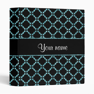 Blue Ice Quatrefoil on Black Background Binders