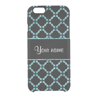 Blue Ice Quatrefoil on Black Background Clear iPhone 6/6S Case