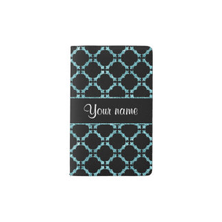 Blue Ice Quatrefoil on Black Background Pocket Moleskine Notebook