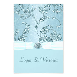 Blue Ice Sparkle Wonderland Wedding Card