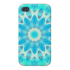 Blue Ice Star, Abstract Aqua Turquoise Mandala iPhone 4 Cover