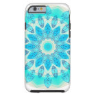 Blue Ice Star Mandala, Abstract Aqua Joyful Light Tough iPhone 6 Case