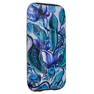 Blue Ice Vintage Flowers Tough iPhone 3 Case