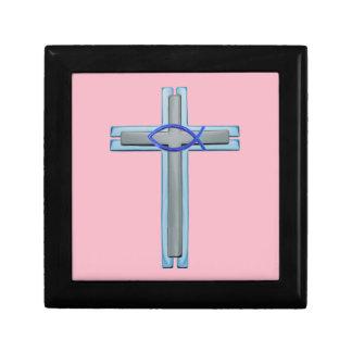 Blue Ichthus Cross Gift Box