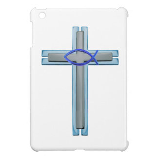 Blue Ichthus Cross iPad Mini Cover
