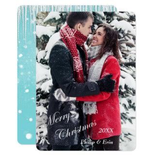 Blue Icicle Snow Modern Christmas Card