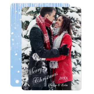 Blue Icicle Snow Photo Template Christmas