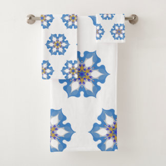Blue icy flowers pattern with white background bath towel set