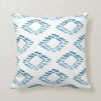 Blue Ikat Pattern Throw Pillow