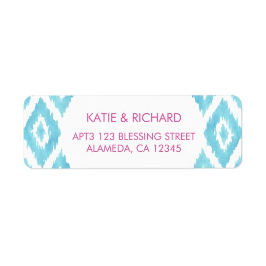 Blue Ikat Return Address Label