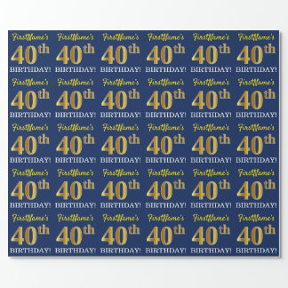 "Blue, Imitation Gold Look ""40th BIRTHDAY"" Wrapping Paper"