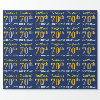 """Blue, Imitation Gold Look """"70th BIRTHDAY"""" Wrapping Paper"""
