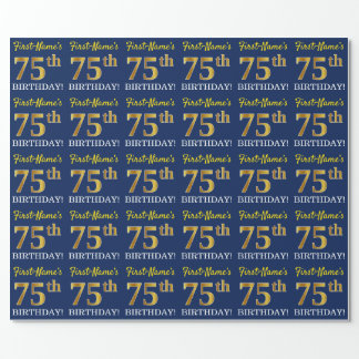 """Blue, Imitation Gold Look """"75th BIRTHDAY"""" Wrapping Paper"""