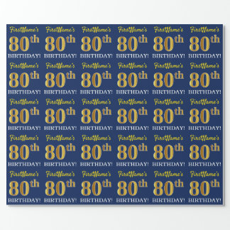 "Blue, Imitation Gold Look ""80th BIRTHDAY"" Wrapping Paper"
