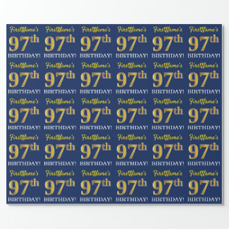 """Blue, Imitation Gold Look """"97th BIRTHDAY"""" Wrapping Paper"""