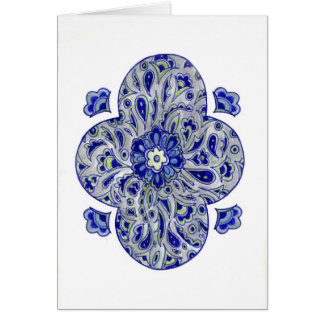 Blue India Paisley Card