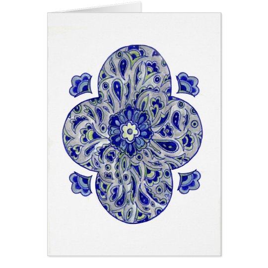 Blue India Paisley Card