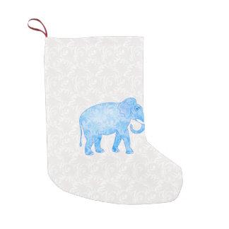 Blue Indian Pattern Elephant Small Christmas Stocking