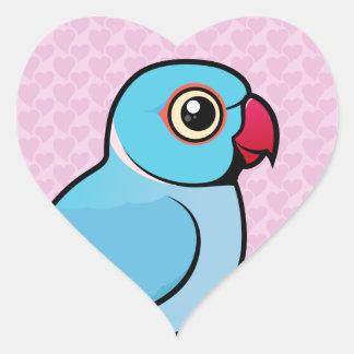 Blue Indian Ringneck Heart Sticker