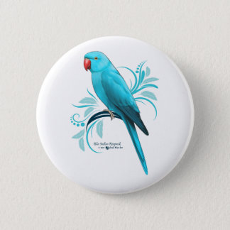 Blue Indian Ringneck Parrot 2 Inch Round Button