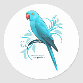Blue Indian Ringneck Parrot Classic Round Sticker