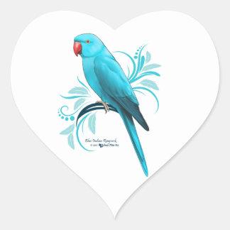Blue Indian Ringneck Parrot Heart Sticker