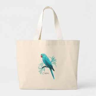Blue Indian Ringneck Parrot Large Tote Bag