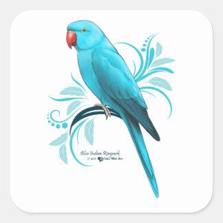 Blue Indian Ringneck Parrot Square Sticker