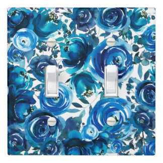 Blue Indigo Floral Flowers Elegant Chic Light Switch Cover