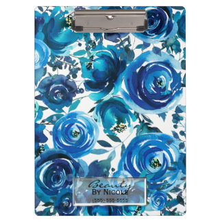 Blue Indigo Floral Flowers Elegant Personalized Clipboard