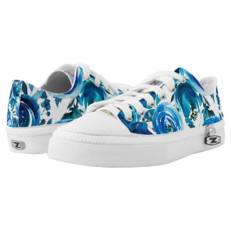 Blue Indigo Floral Flowers Elegant Shabby Chic Low-Top Sneakers